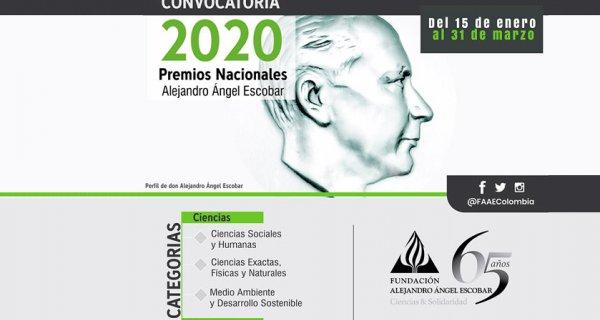 Inscripciones abiertas para la convocatoria 2020 de los Premios Alejandro Ángel Escobar